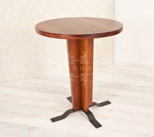 Tavolo di campionatura, in legno di tulipier massello tinto ciliegio e piedini in metallo verniciato