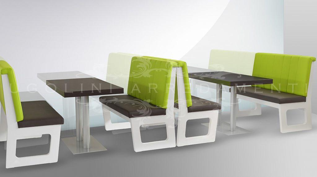 Panca 140 set tavoli e panche moderne per fast food pub - Panche e tavoli in legno per pub ...
