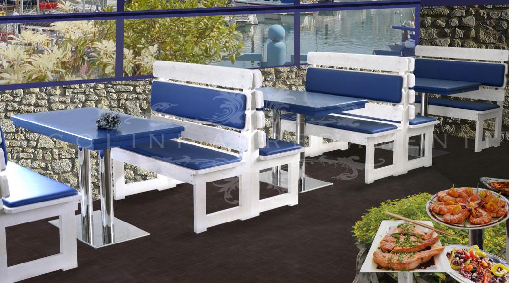 Panche 205 set tavoli e panche panca moderna colorata - Tavoli e sedie per ristoranti usati ...