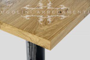 Tavolo in rovere nodato con base in ferro - 190 - dettaglio piano in rovere nodato 2