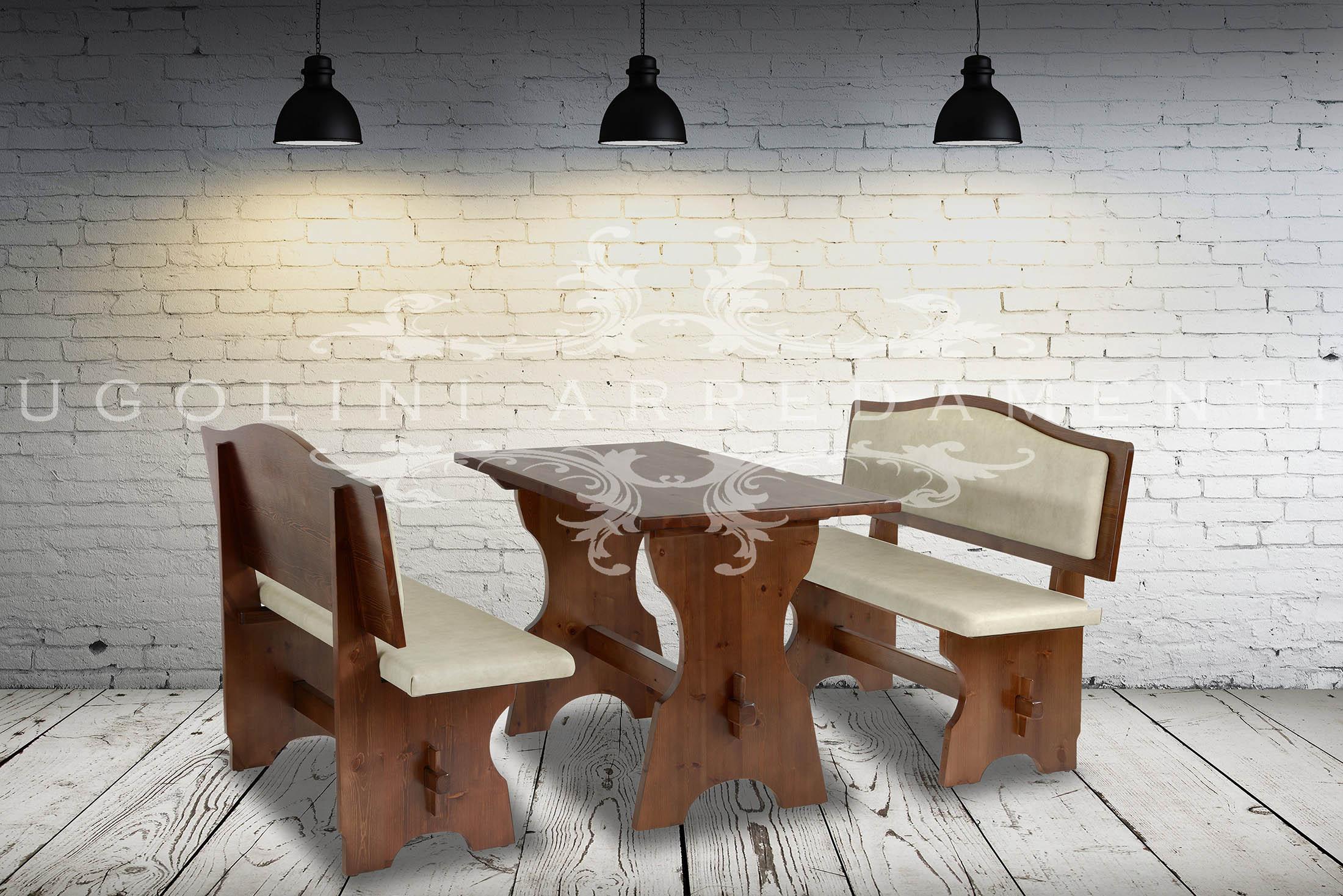 Panca rustica per ristoranti in legno di pino massello tinto noce con sedile e schienale in ecopelle